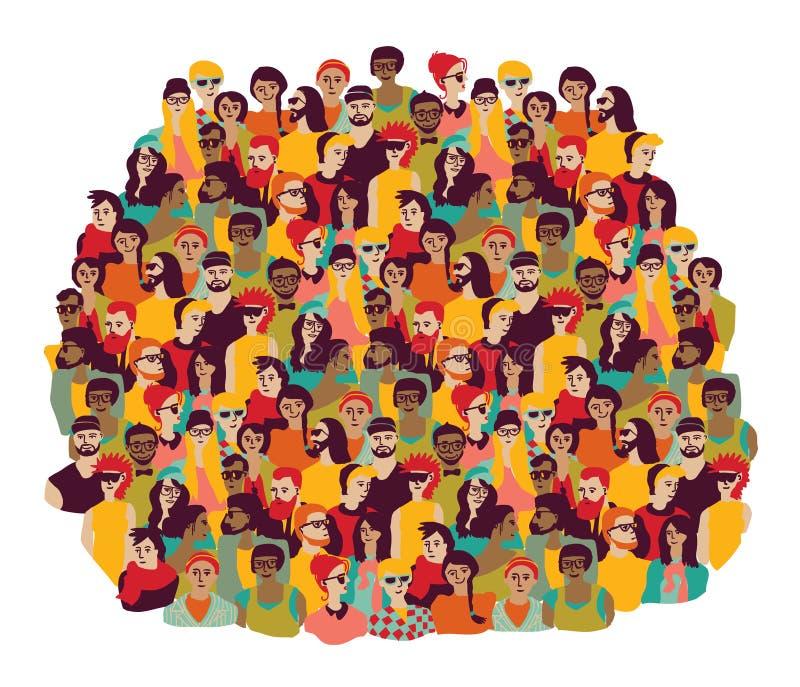 Giovane isolato casuale felice dei fronti della gente del grande gruppo su bianco illustrazione di stock