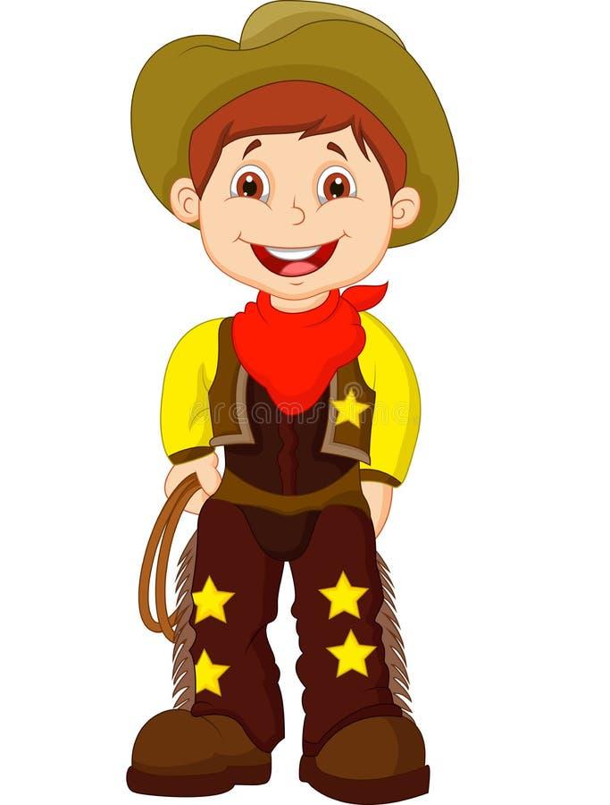 Giovane lazo sveglio della tenuta del fumetto del cowboy illustrazione vettoriale