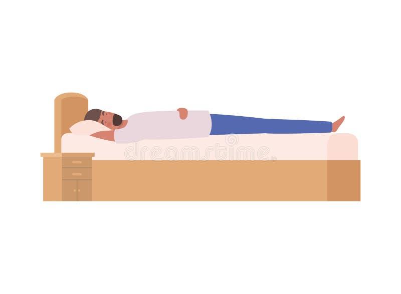 Giovane a letto con la posa di sonno illustrazione di stock