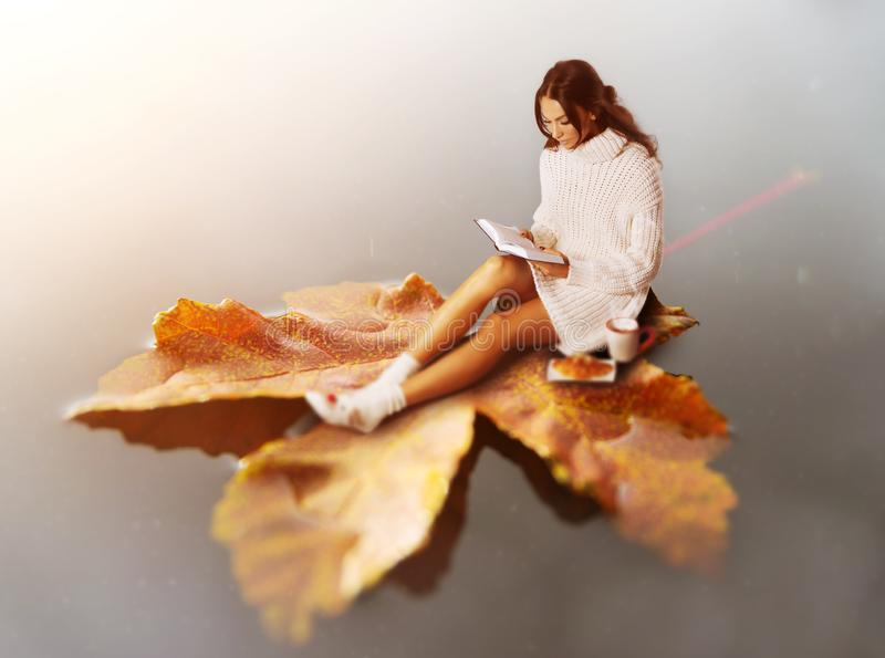 Giovane libro di lettura castana della donna, galleggiante sulla foglia fotografie stock libere da diritti