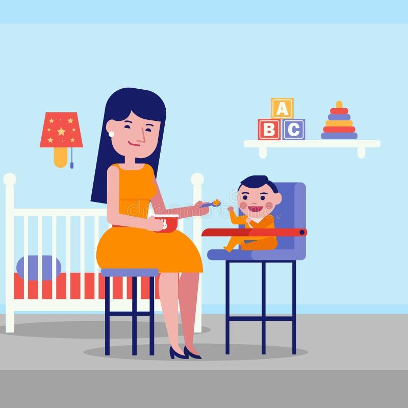 Giovane madre bianca caucasica che alimenta il suo bambino royalty illustrazione gratis