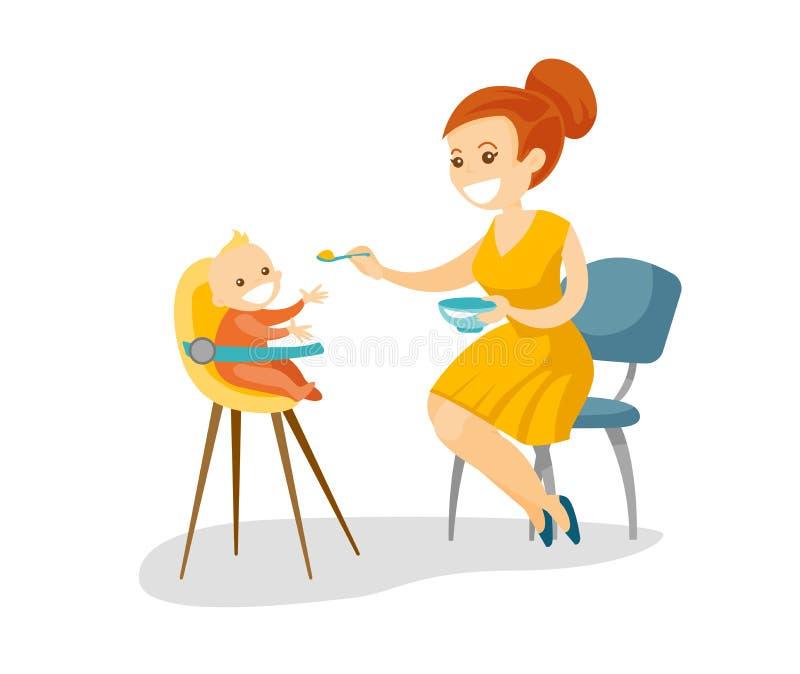 Giovane madre bianca caucasica che alimenta il suo bambino illustrazione vettoriale