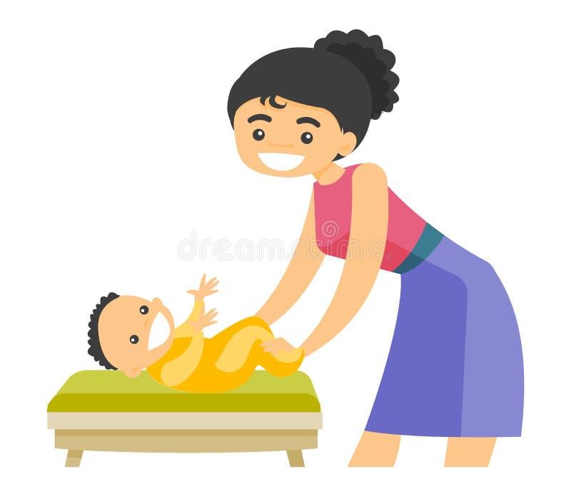 Giovane madre bianca caucasica che prende cura del bambino illustrazione vettoriale