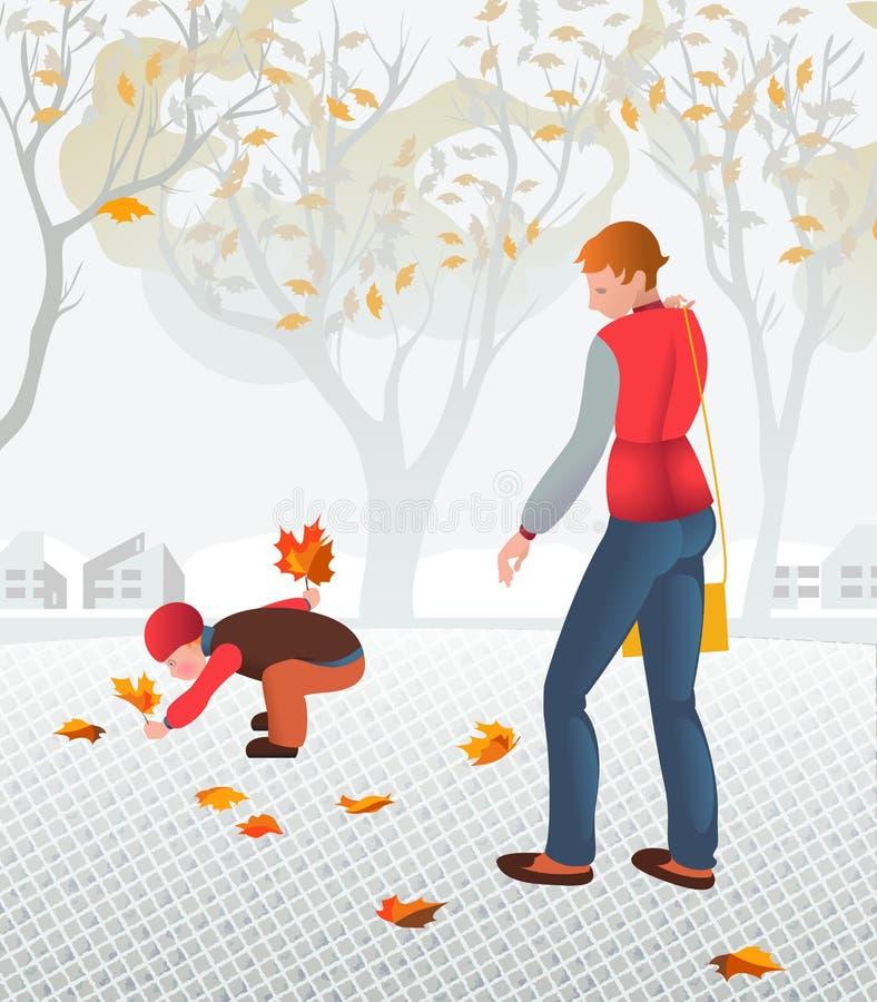 Giovane madre che cammina con il suo bambino che raccoglie le foglie cadute illustrazione vettoriale