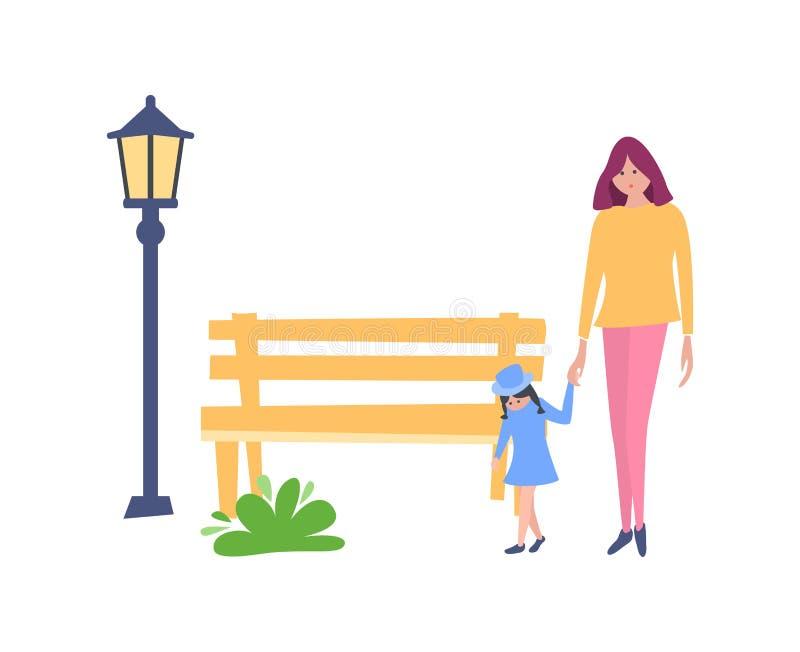 Giovane madre con la figlia del bambino, camminante nel parco di ricreazione illustrazione vettoriale