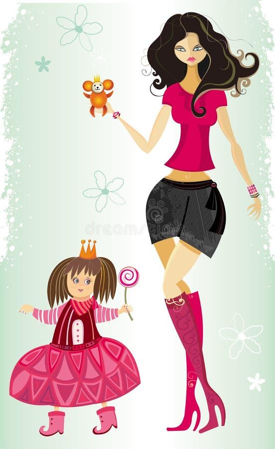 Giovane madre e figlia sveglia illustrazione vettoriale