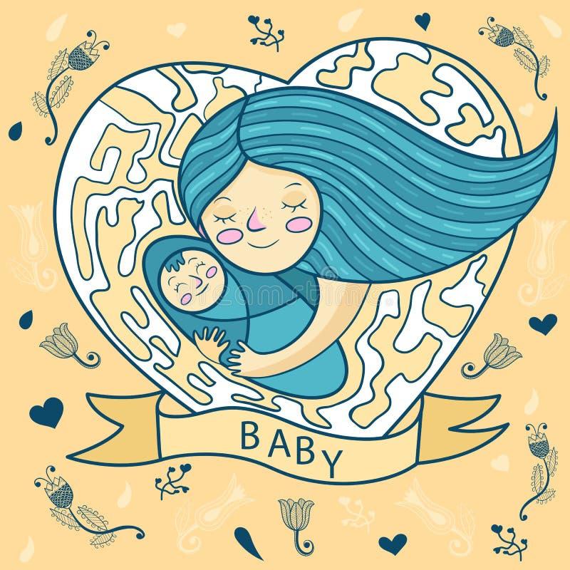 Giovane madre felice che abbraccia bambino cuore, fondo floreale royalty illustrazione gratis
