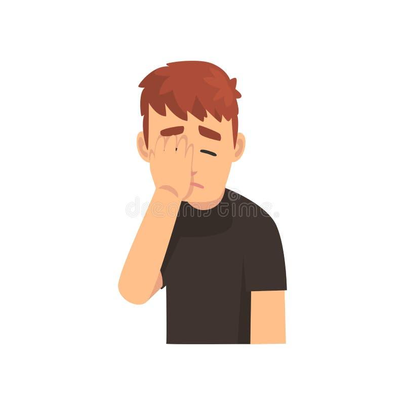 Giovane in maglietta nera che copre il suo fronte di mano, Guy Making Facepalm Gesture, vergogna, emicrania, delusione illustrazione di stock