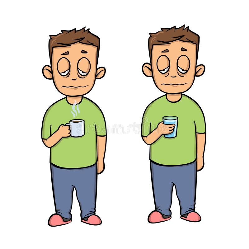 Giovane malato con una tazza, personaggio dei cartoni animati Un insieme di due figure Icona piana di progettazione Illustrazione royalty illustrazione gratis
