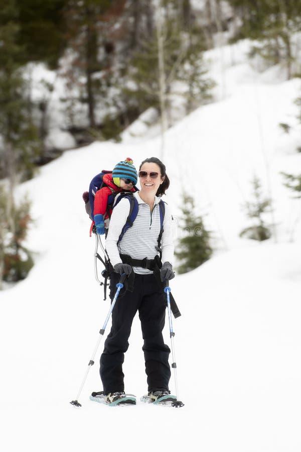 Giovane mamma Snowshoeing con il suo bambino in uno zaino immagini stock libere da diritti