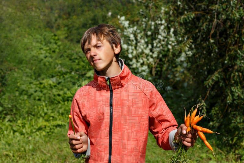 Giovane mangiatore di uomini una carota fotografia stock