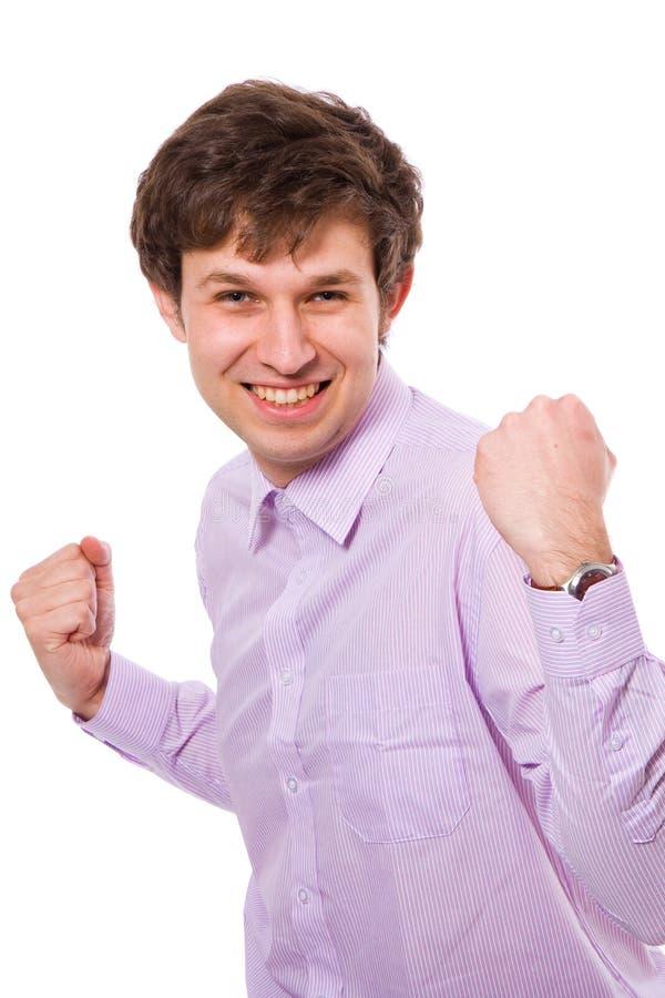Giovane maschio molto felice, isolato su bianco fotografia stock libera da diritti