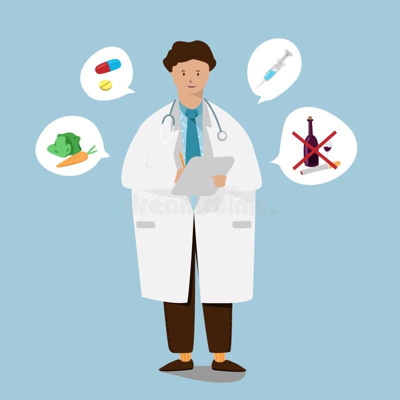 Giovane medico con il controllo della tenuta sul documento di rapporto Illustrazione del fumetto illustrazione di stock