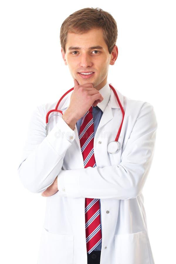 Giovane medico maschio con lo stetoscopio, isolato immagine stock libera da diritti