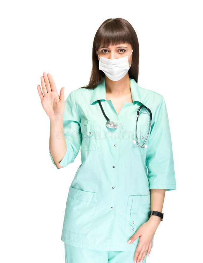 Giovane medico o infermiere che fa il fanale di arresto fotografia stock