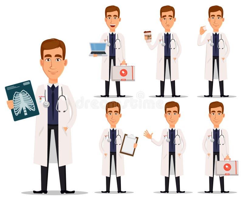 Giovane medico professionista in camice, insieme illustrazione vettoriale