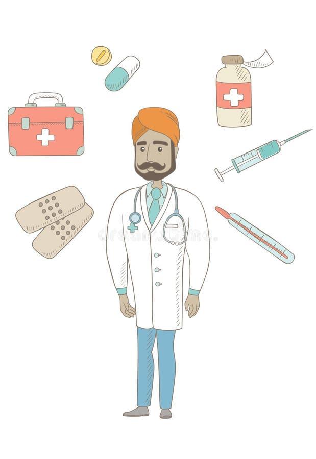 Giovane medico sicuro indiano illustrazione di stock