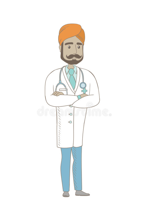 Giovane medico sicuro indiano con le armi piegate illustrazione di stock