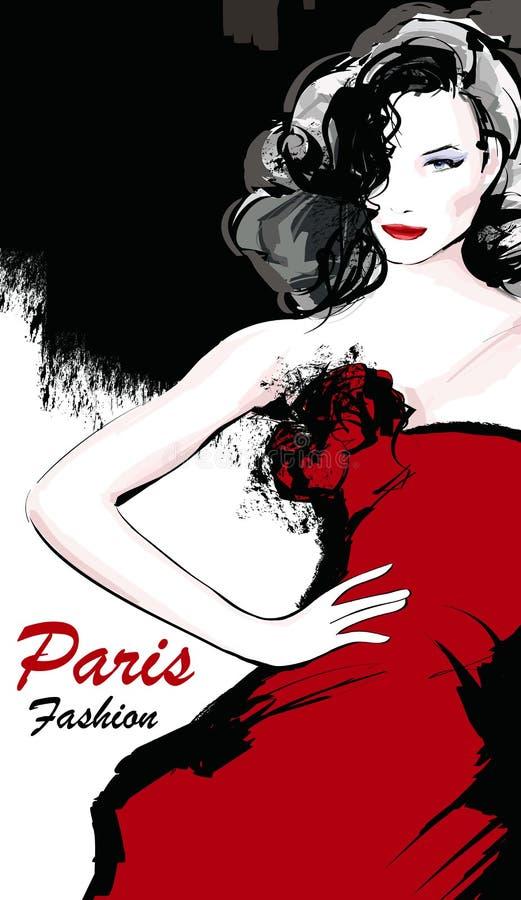 Giovane modello di moda grazioso a Parigi illustrazione vettoriale