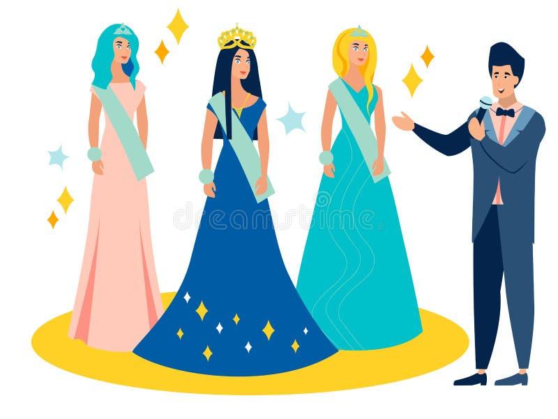 Giovane modello femminile di concorso di bellezza al premio della corona Nel vettore piano del fumetto minimalista di stile illustrazione vettoriale