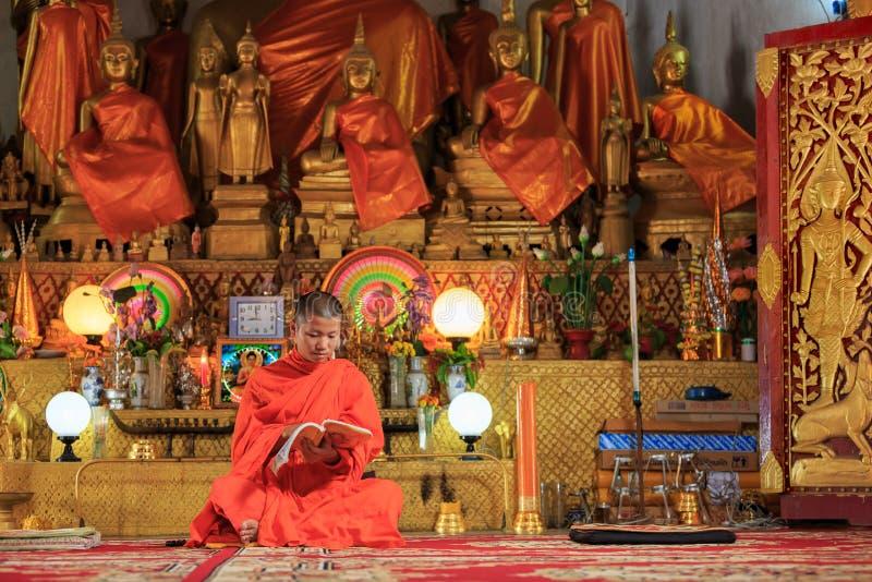 Giovane monaco buddista Reading Prayer Book fotografie stock libere da diritti