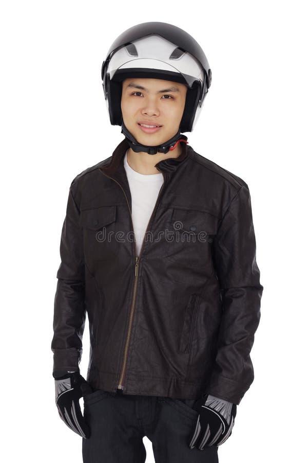 Giovane motociclista immagine stock