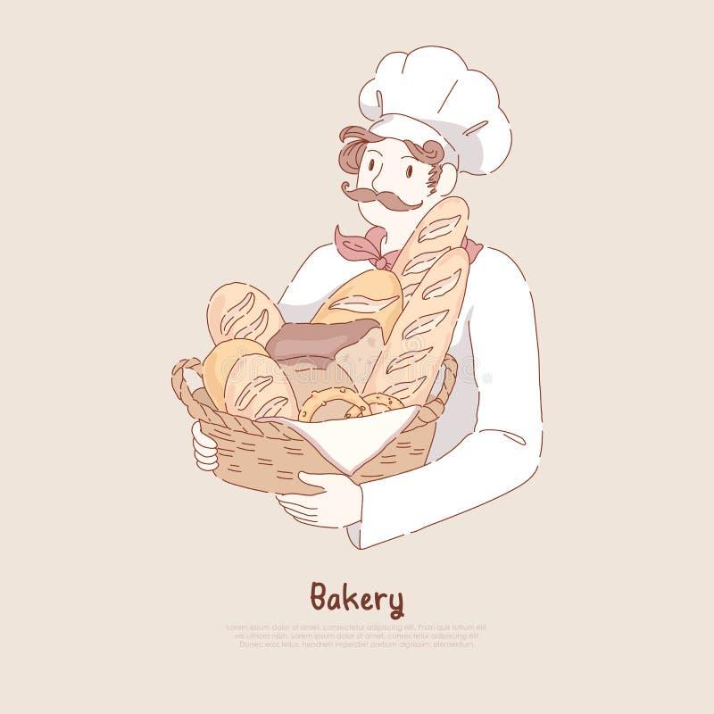 Giovane nel canestro con cottura casalinga, pasticceria deliziosa, baguette, ciambellina salata, forno, insegna della tenuta del  illustrazione di stock