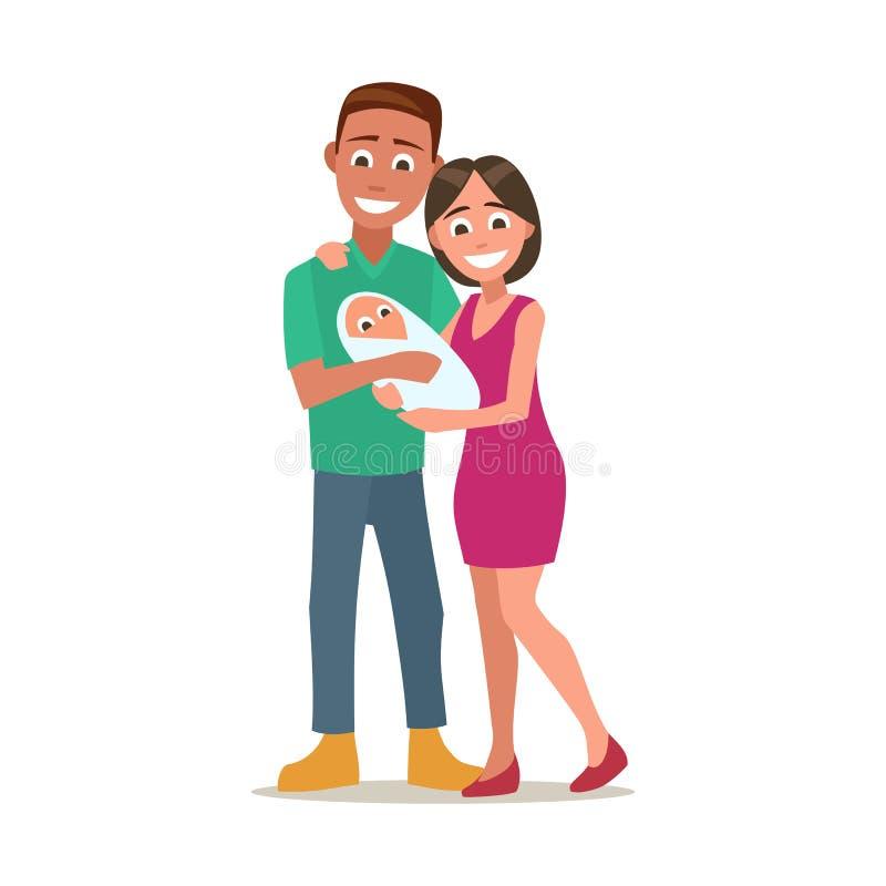 Giovane neonato felice della tenuta del genitore Illustrazione piana di vettore di colore royalty illustrazione gratis