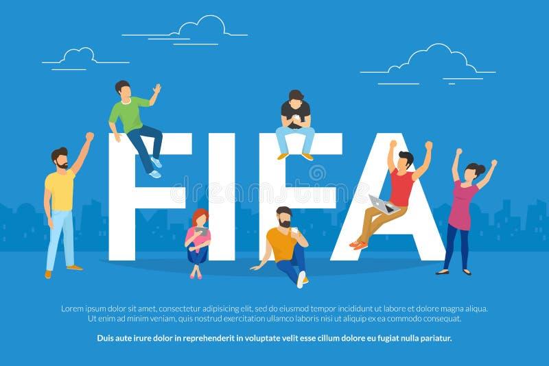 Giovane orologio di fan della coppa del Mondo di calcio mani gesturing online di un gioco su e joying il vincitore royalty illustrazione gratis