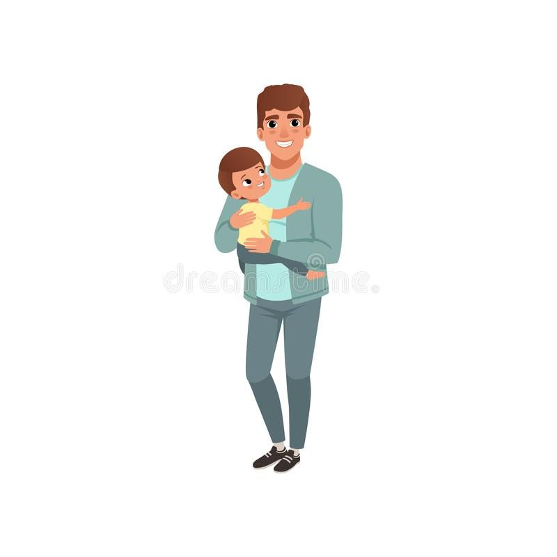 Giovane padre che tiene piccolo figlio sulle sue mani, fase di crescere l'illustrazione di vettore di concetto isolata su un bian illustrazione vettoriale