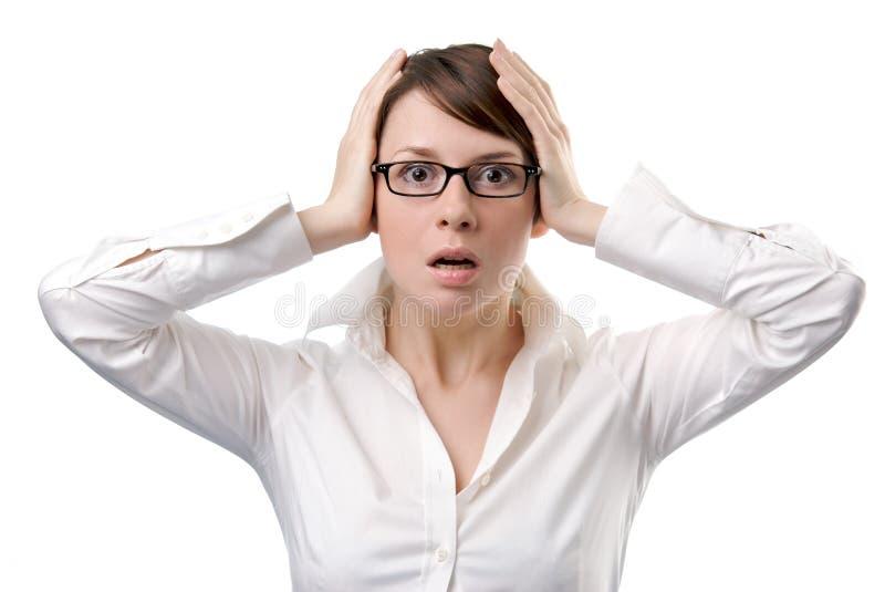 Giovane panico della donna di affari immagini stock libere da diritti