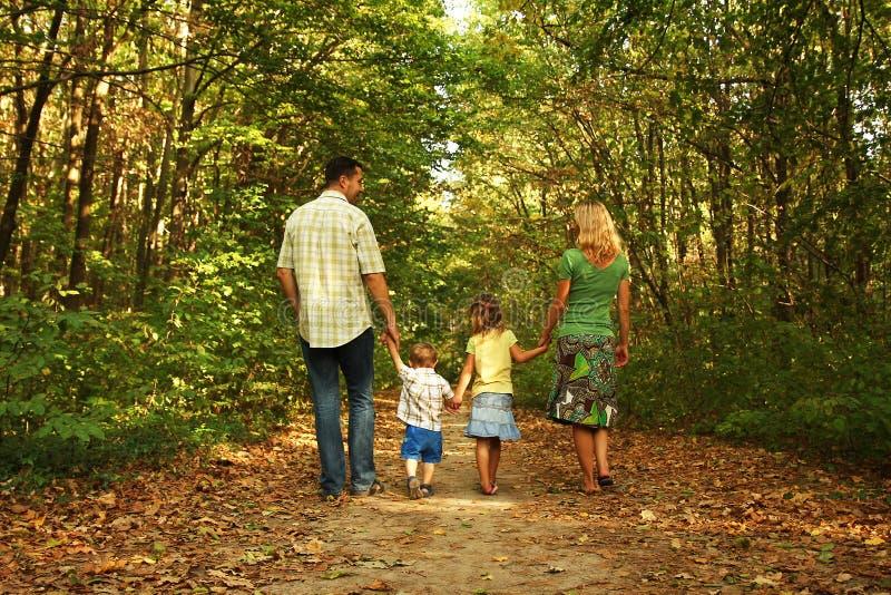 Giovane passeggiata della famiglia insieme immagine stock