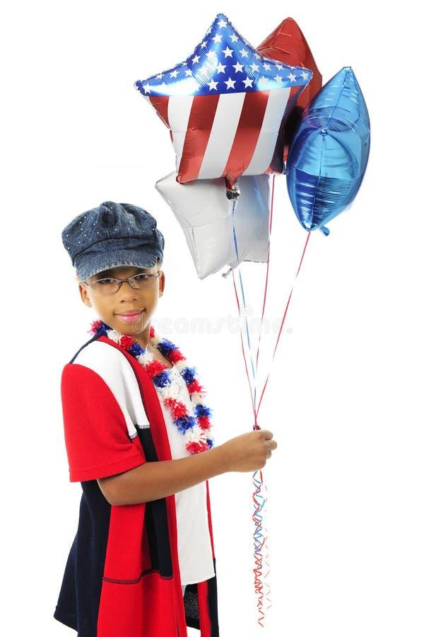 Giovane patriota, grandi palloni fotografia stock libera da diritti