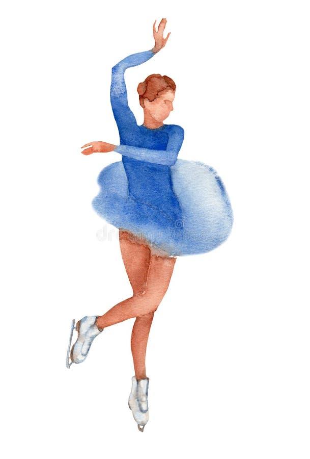 Giovane pattinatore artistico che balla ballo indiano in un vestito blu su un fondo bianco illustrazione di stock