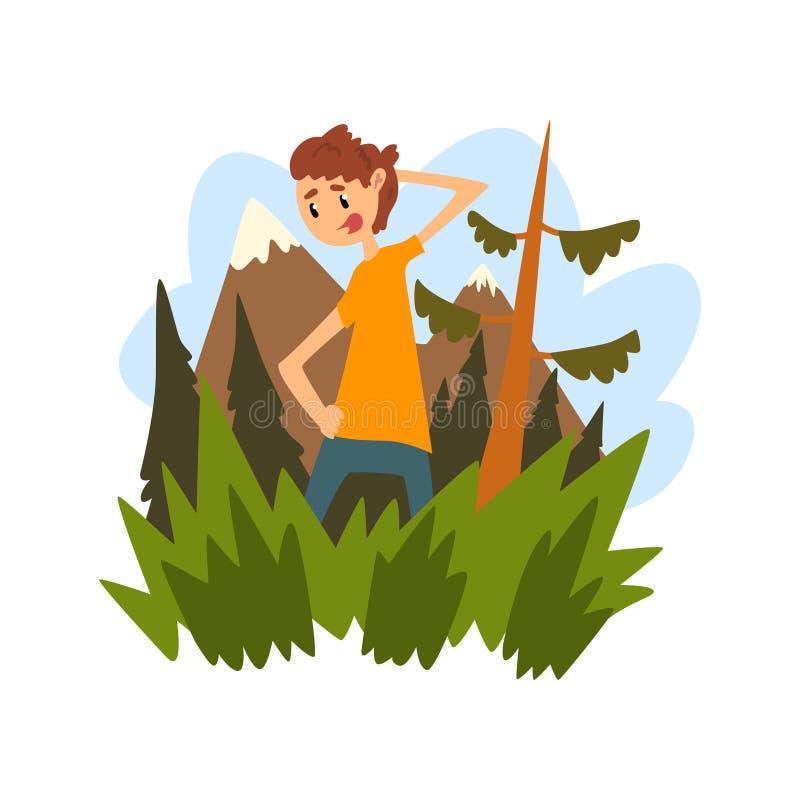 Giovane perso nella foresta, tipo che graffia meditatamente la sua testa contro il contesto di bello vettore della natura royalty illustrazione gratis