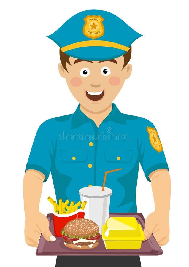 Giovane poliziotto sveglio che tiene un vassoio con alimenti a rapida preparazione illustrazione vettoriale