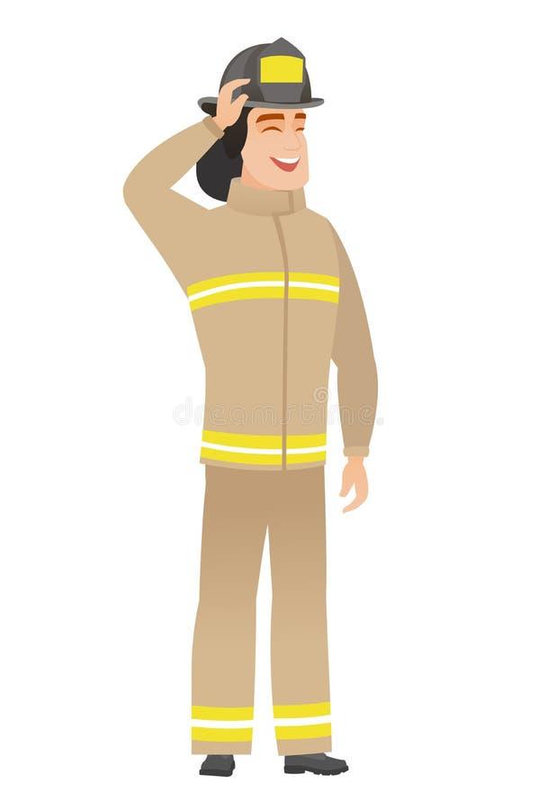 Giovane pompiere caucasico in uniforme illustrazione di stock