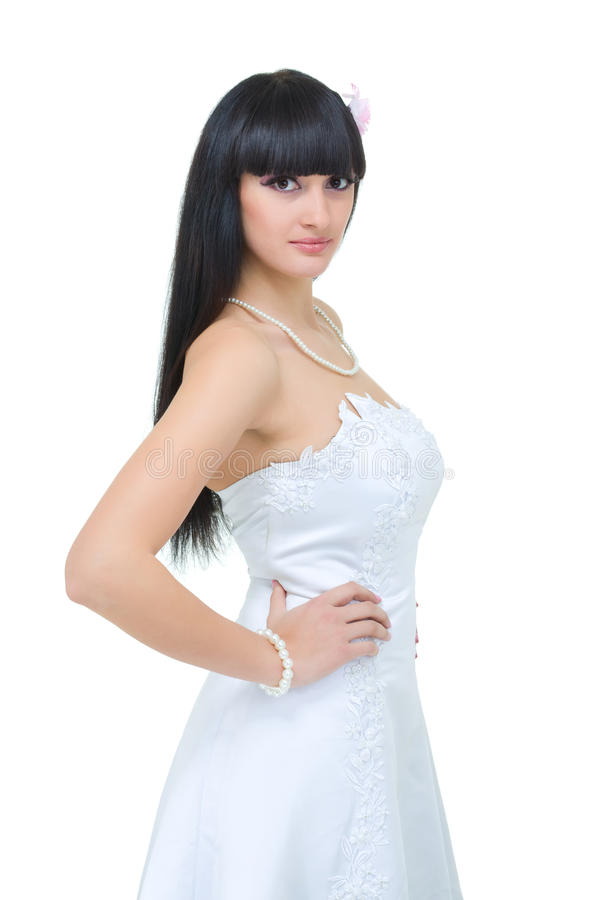 Giovane posizione della sposa fotografie stock libere da diritti