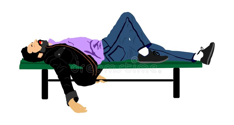 Giovane profondamente che dorme o potabile, ponendo all'aperto su un banco di parco di legno, royalty illustrazione gratis