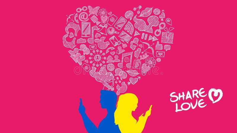 Giovane progettazione di amore di Internet delle coppie di media sociali illustrazione vettoriale