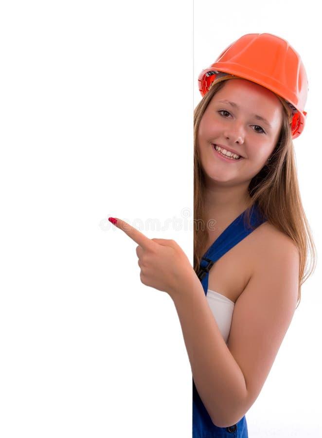 Giovane punto del Craftswoman al vostro logo isolato fotografia stock libera da diritti