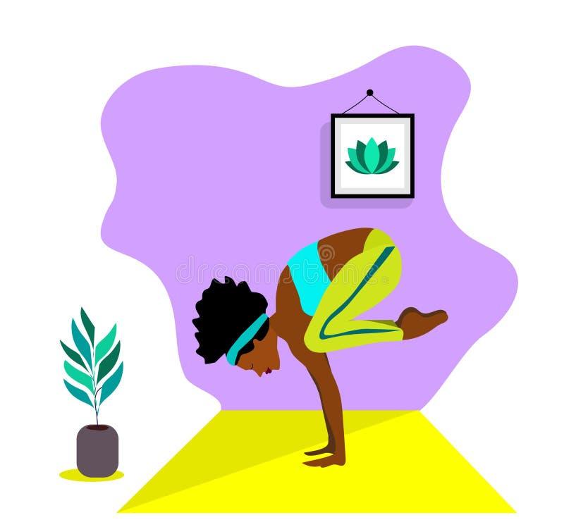 Giovane ragazza africana esile che fa sport, yoga, forma fisica, ginnastica, allungante nella stanza interna d'avanguardia Illust illustrazione vettoriale