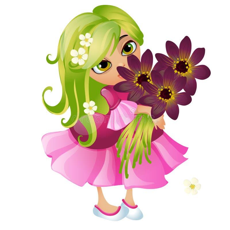 Giovane ragazza animata sveglia con capelli verdi e un mazzo dei fiori isolati su fondo bianco Primo piano del fumetto di vettore illustrazione vettoriale