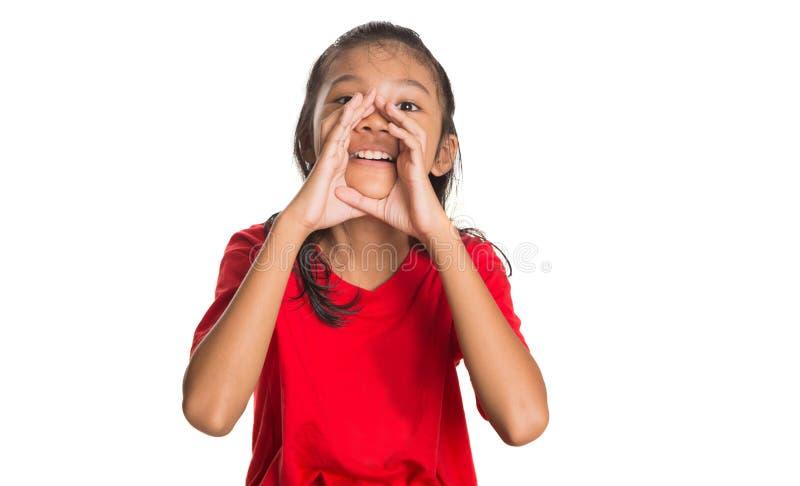 Giovane ragazza asiatica IV gridante immagini stock libere da diritti