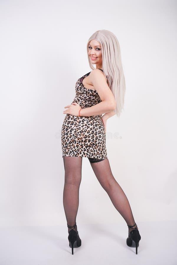 Giovane ragazza bionda elegante in vestito stretto erotico con la stampa del leopardo ed in calze sexy nere con i tacchi alti su  fotografia stock