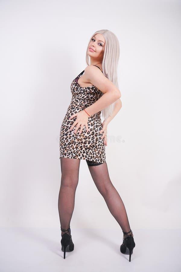 Giovane ragazza bionda elegante in vestito stretto erotico con la stampa del leopardo ed in calze sexy nere con i tacchi alti su  immagini stock