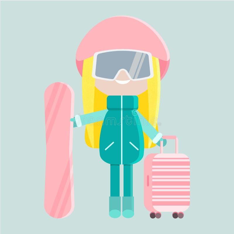 Giovane ragazza bionda felice isolata in vestiti caldi con i vetri snowbording, un casco rosa, uno snowboard e una valigia illustrazione di stock