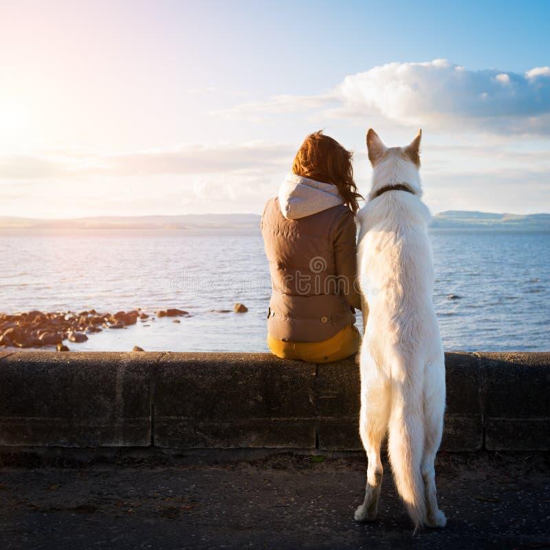 Giovane ragazza dei pantaloni a vita bassa con il suo cane di animale domestico ad una spiaggia fotografia stock libera da diritti
