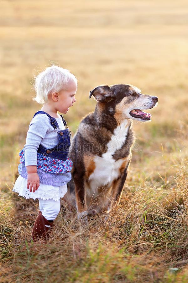 Giovane ragazza del bambino che parla con suo Pat Dog Outside un giorno dell'autunno immagine stock