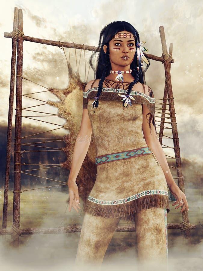 Giovane ragazza del nativo americano in un villaggio illustrazione vettoriale